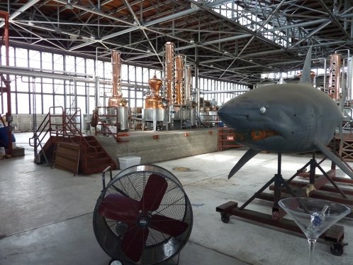 The stills at Hangar One...inexplicably accomapnied by a giant shark and a huge martini glass
